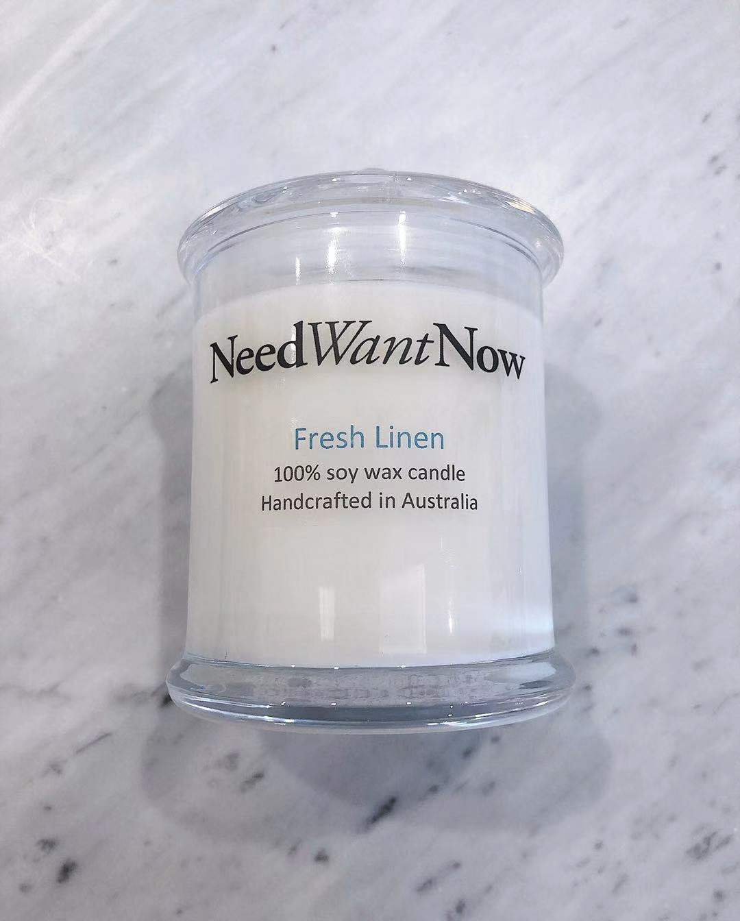 Need Want Now- Fresh Linen Candle