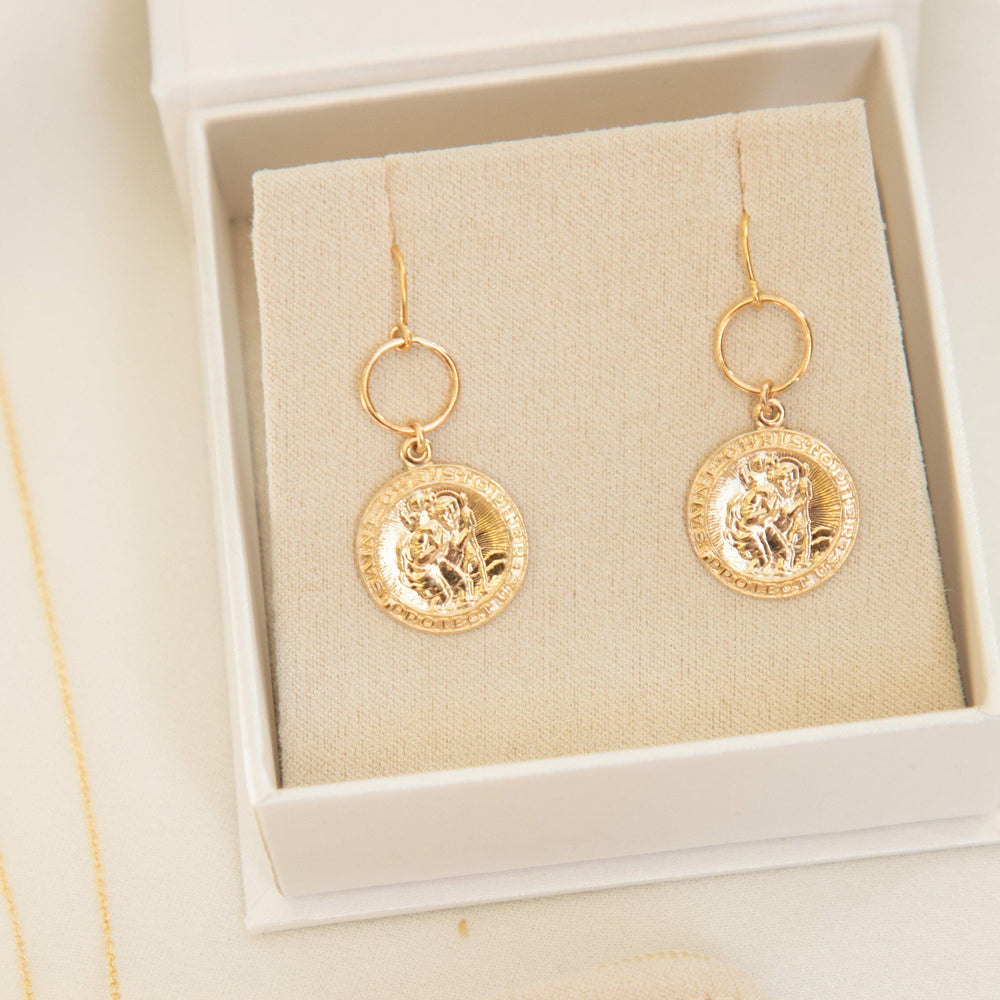 Load image into Gallery viewer, St Christopher Thread Earrings Gold