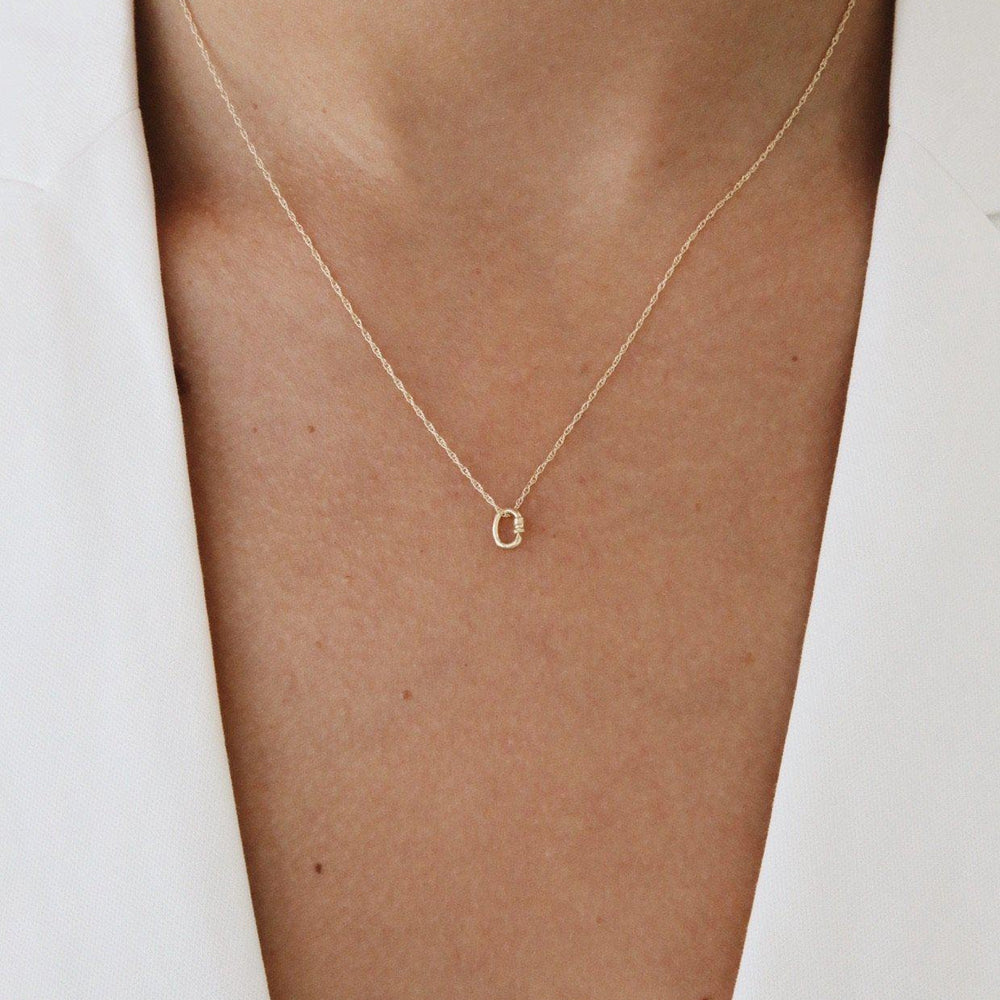 14 Karat Gold Tiny Lock Necklace Gold