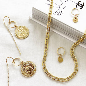St Christopher Thread Earrings Gold