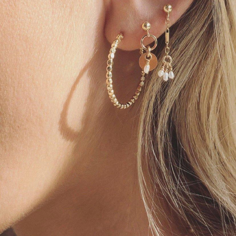 Load image into Gallery viewer, Sia Freshwater Pearl Gold Earring