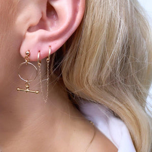 Load image into Gallery viewer, Double Sleeper Chain Earrings Gold
