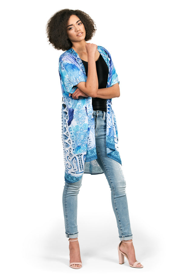 Kimono by Kalisi, inspired by New Zealand, Maori culture, yoga and the ocean.