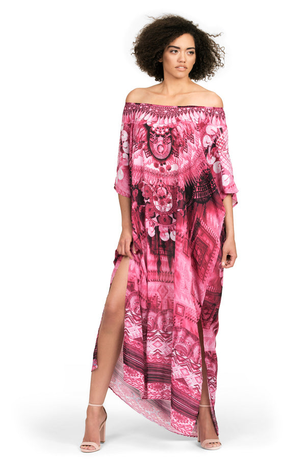 Kaftan dress by Kalisi, inspired by Peru, the Incan moon goddess and our playful nature.