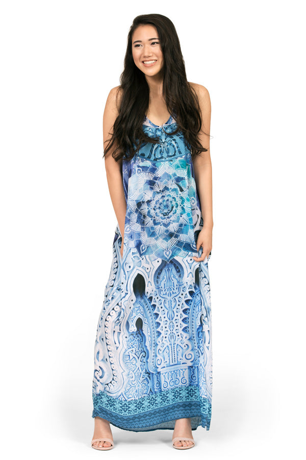 Maxi dress by Kalisi, inspired by New Zealand, Maori culture, yoga and the ocean.
