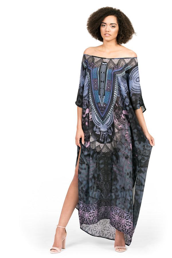 Kaftan dress by Kalisi, inspired by Africa, the dashiki, the animal kingdom and strength.