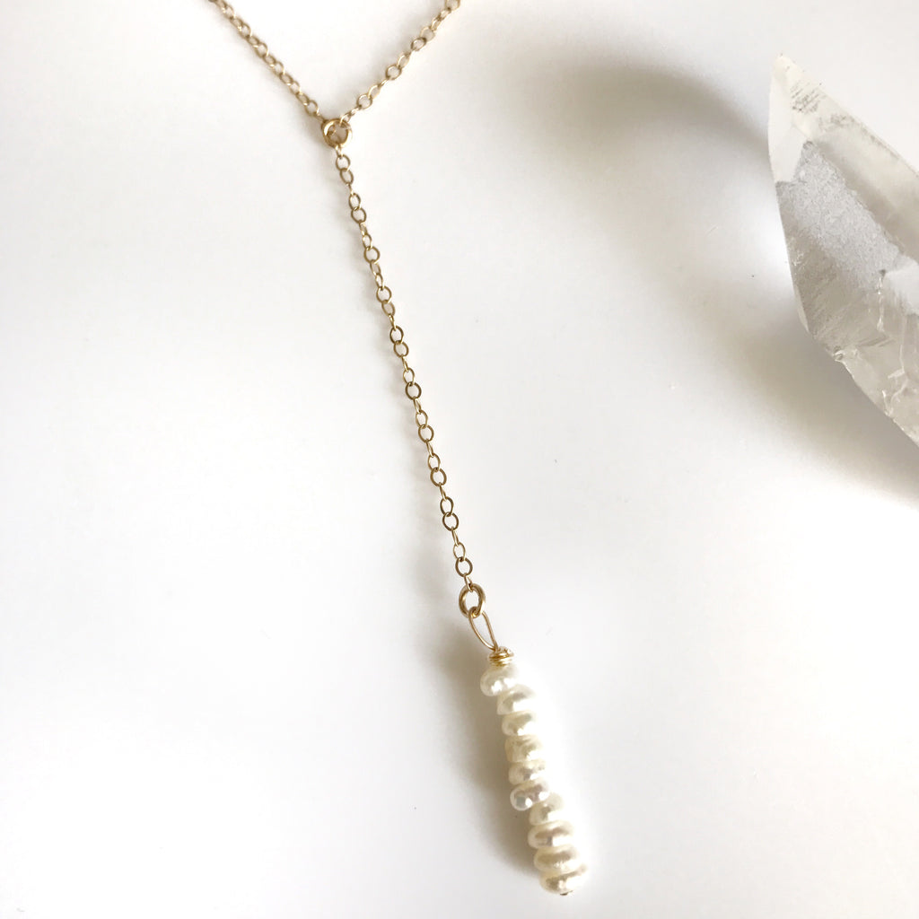 Pearl and 14k gold filled lariat necklace