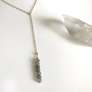 Labradorite and 14k gold filled lariat necklace
