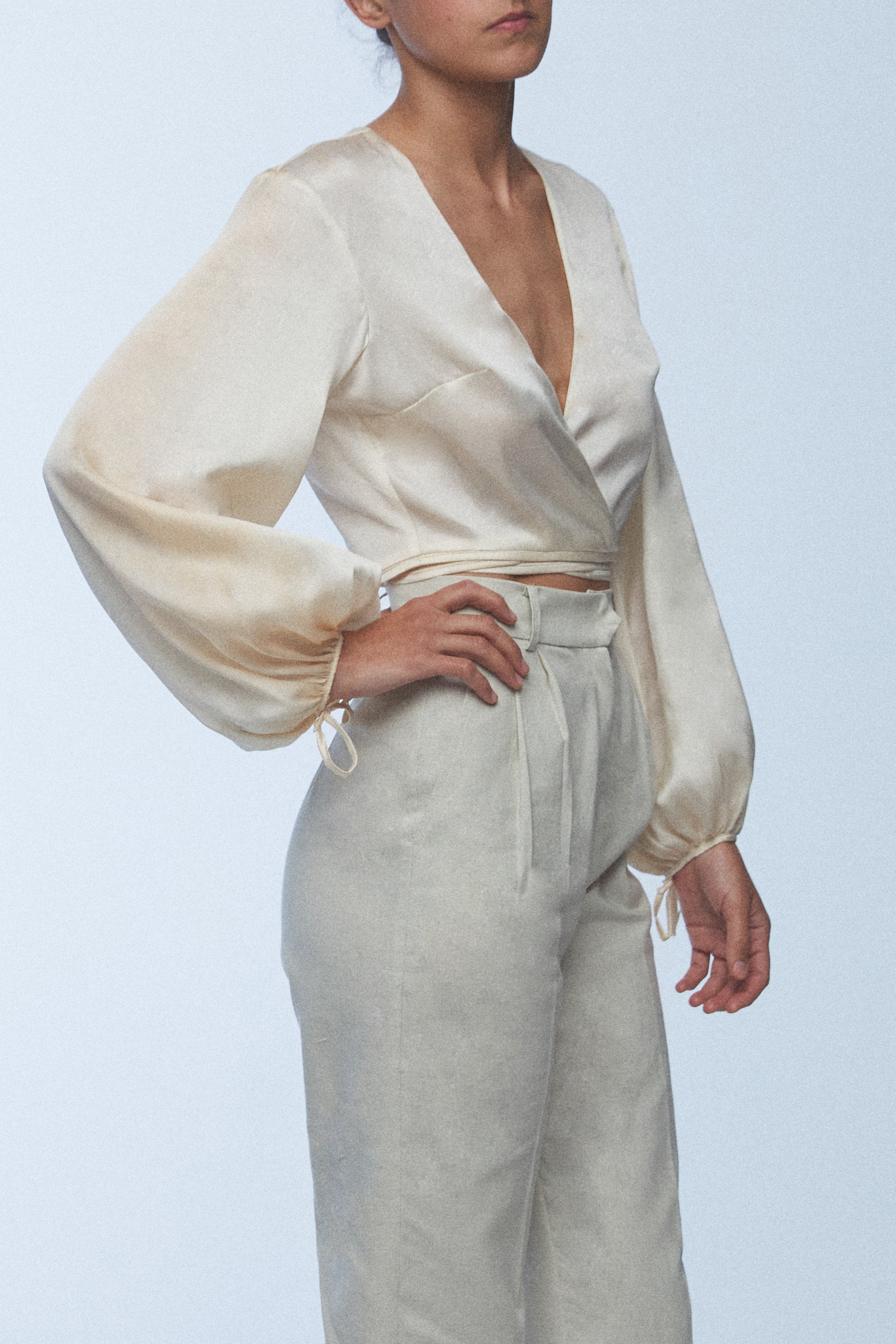 Raw Silk Wrap Top
