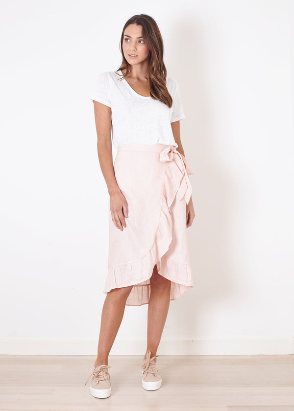 MIDI WRAP SKIRT - Blush Linen