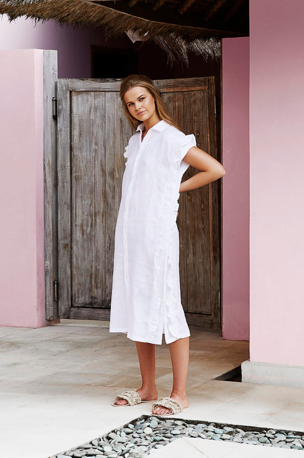 PONCHO SHIRT DRESS - White Linen