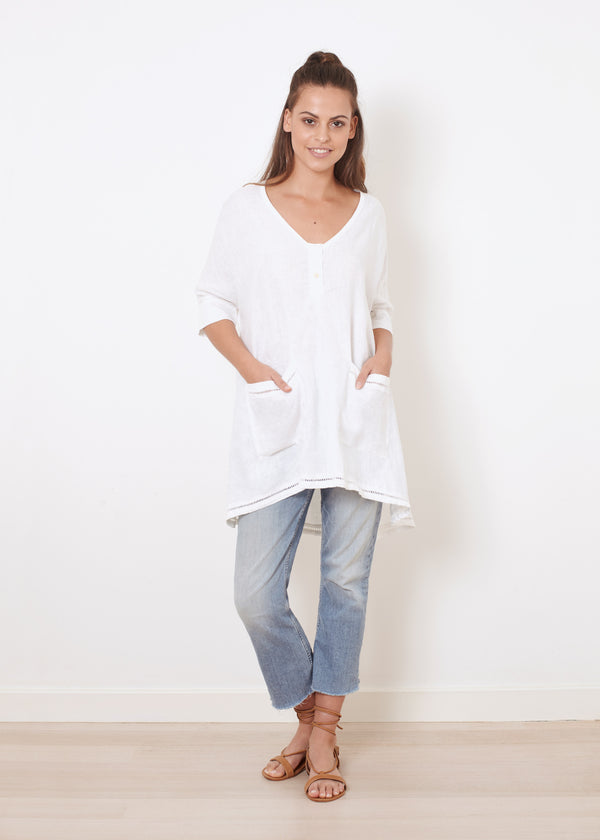POCKET LINEN TOP - WHITE