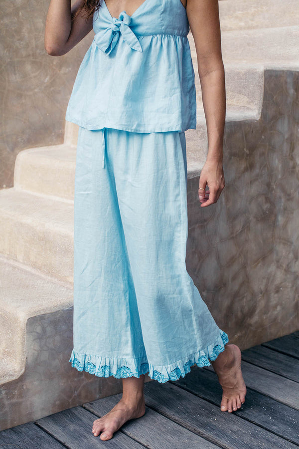 EMBROIDERED RUFFLE PANTS - Sky Linen