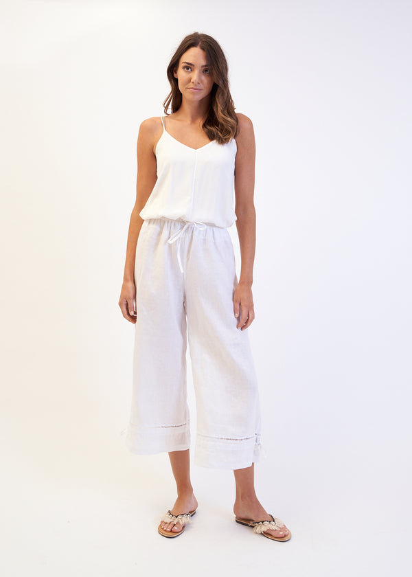 LINEN LADDER PANTS - White Linen