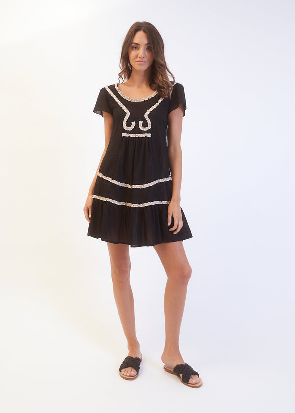 IVY RUFFLE DRESS - BLACK
