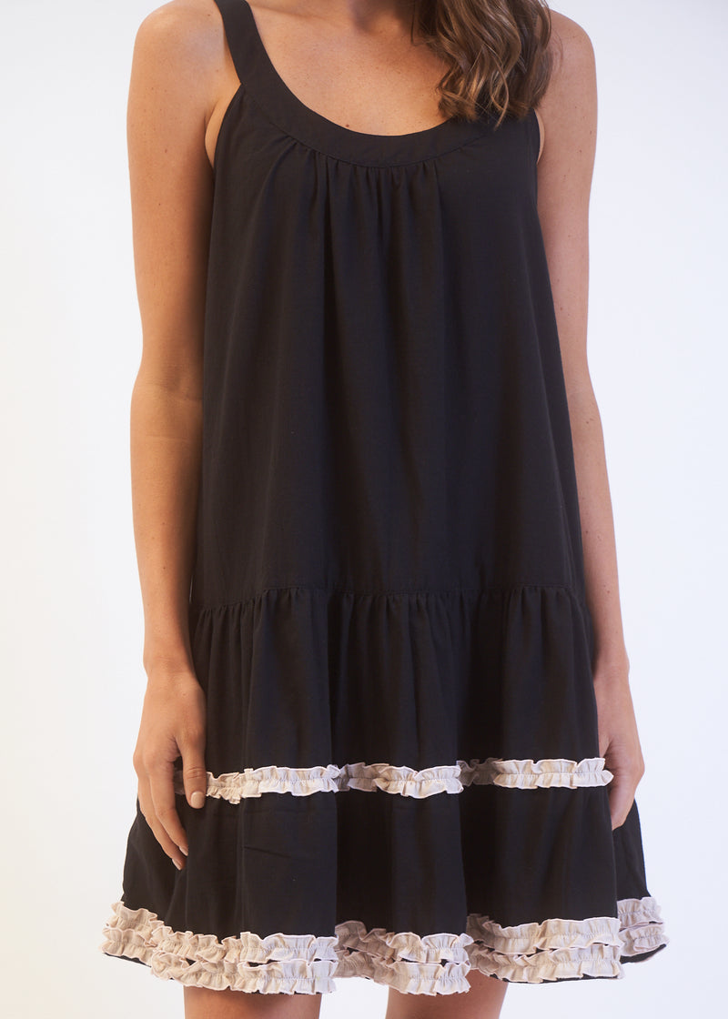 SINGLET RUFFLE DRESS - Black