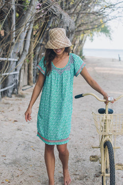 EMBROIDERED GYPSY DRESS - GREEN