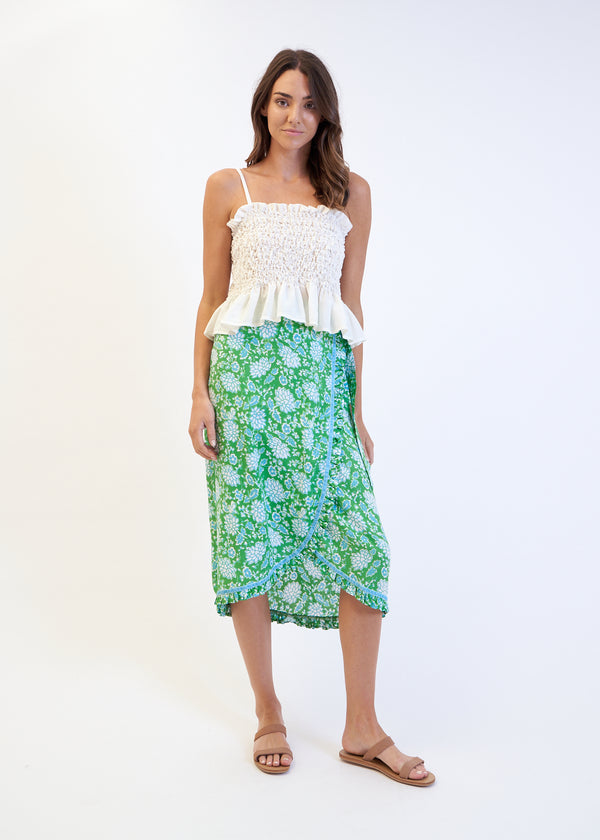 LOTUS WRAP SKIRT - GREEN