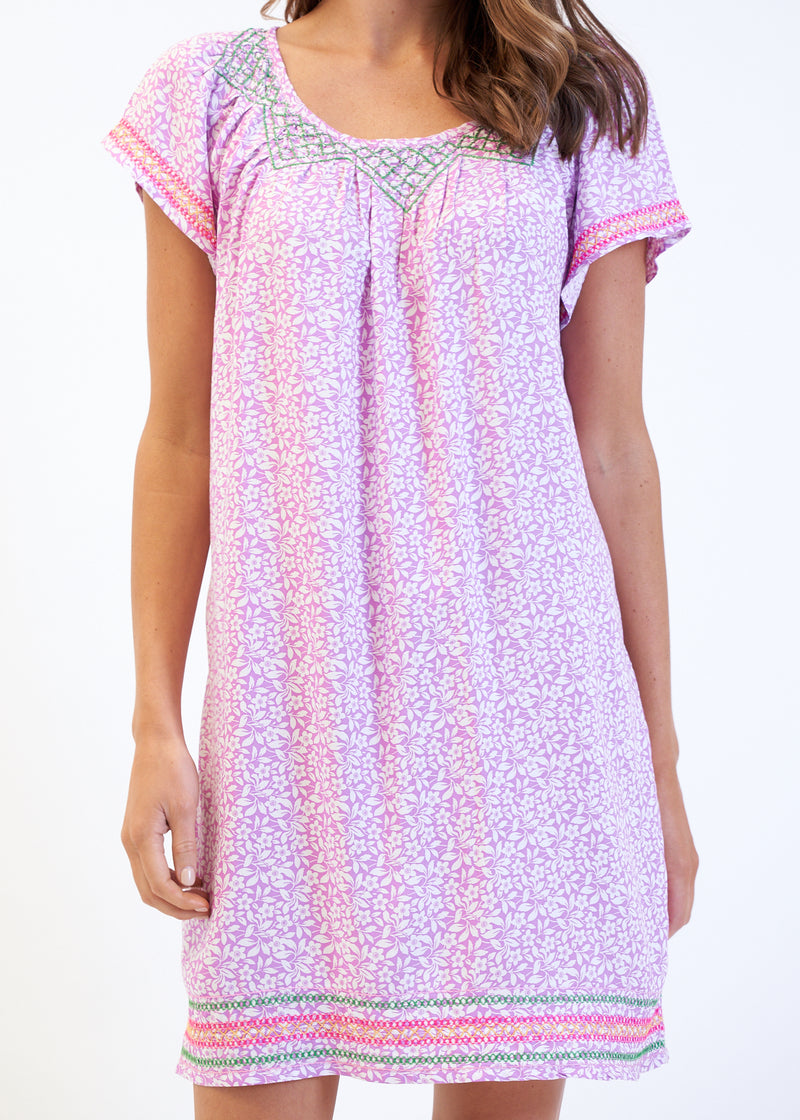 EMBROIDERED GYPSY DRESS - MAGENTA