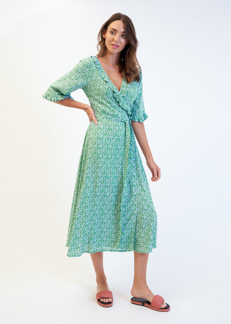 SASA WRAP DRESS - GREEN