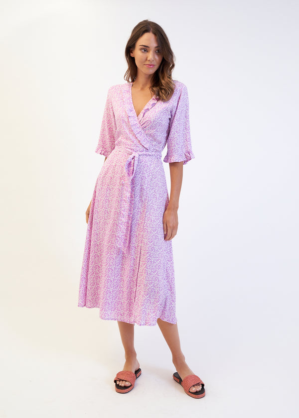 SASA WRAP DRESS - MAGENTA