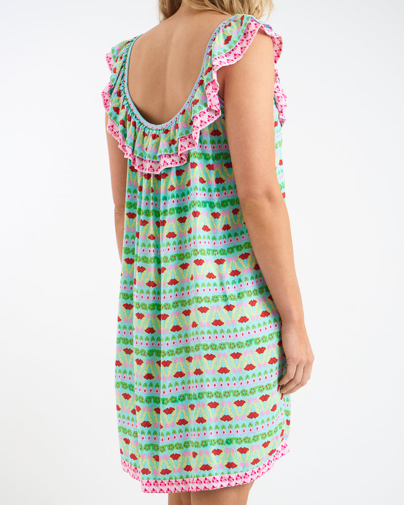 KAHLO RUFFLE DRESS - GREEN