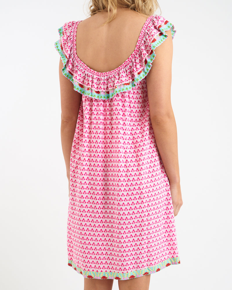 KAHLO RUFFLE DRESS - RASPBERRY