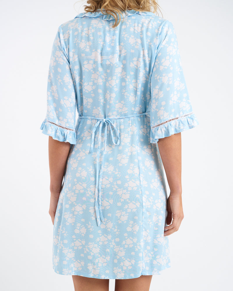 FLEUR WRAP DRESS - BLUE