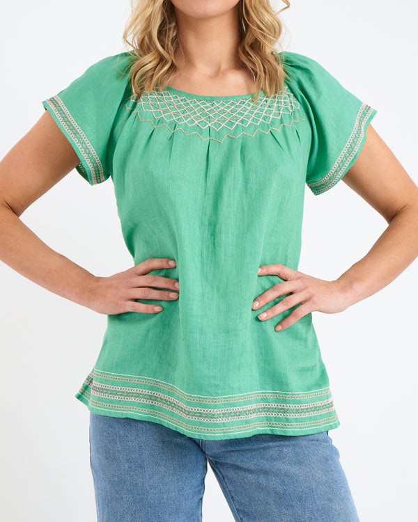 ISLA SMOCK TOP - FOREST LINEN