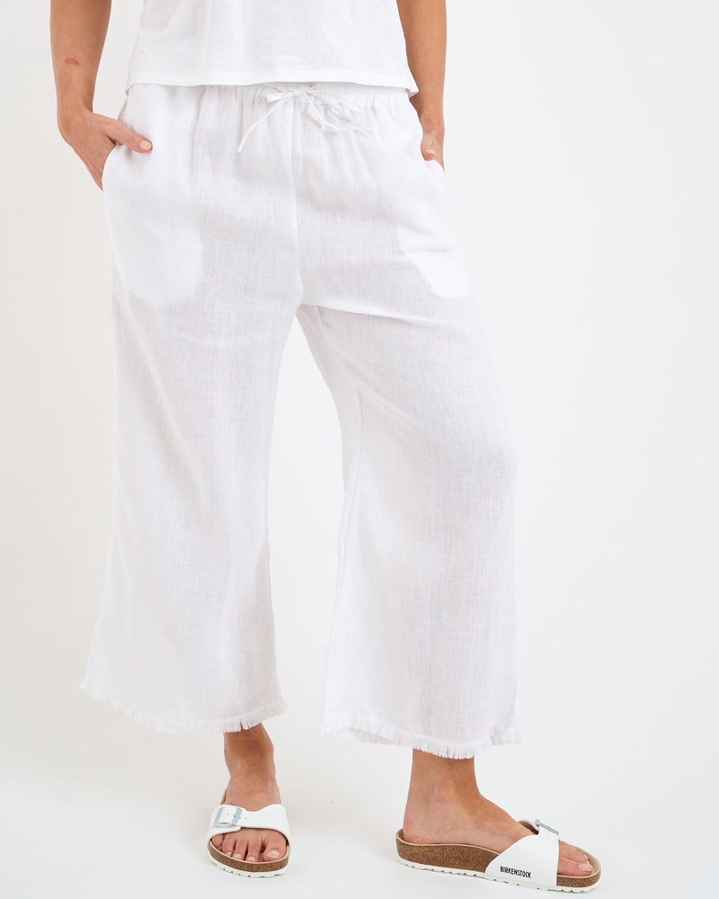 LINEN FRINGE PANTS - WHITE