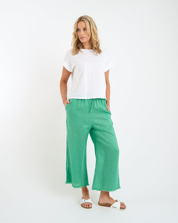 LINEN FRINGE PANTS - FOREST