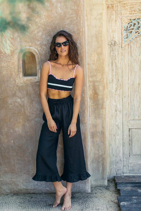 GRETA PANTS - Black Linen