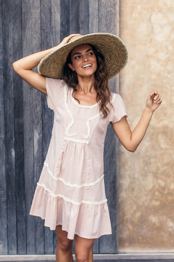 IVY RUFFLE DRESS -BLUSH