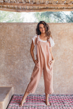 LINEN INCA JUMPSUIT - Clay