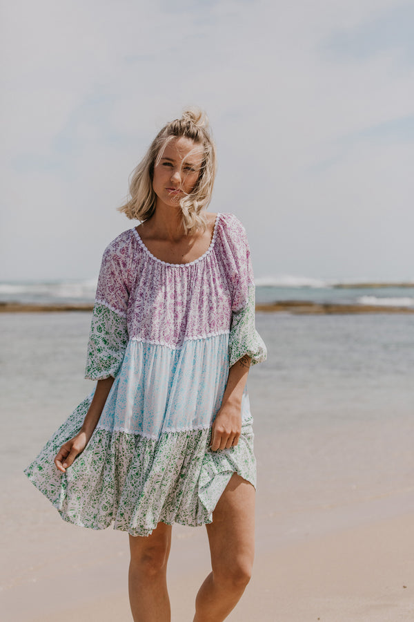 SUMMER PATCHWORK DRESS - LONG SLEEVE