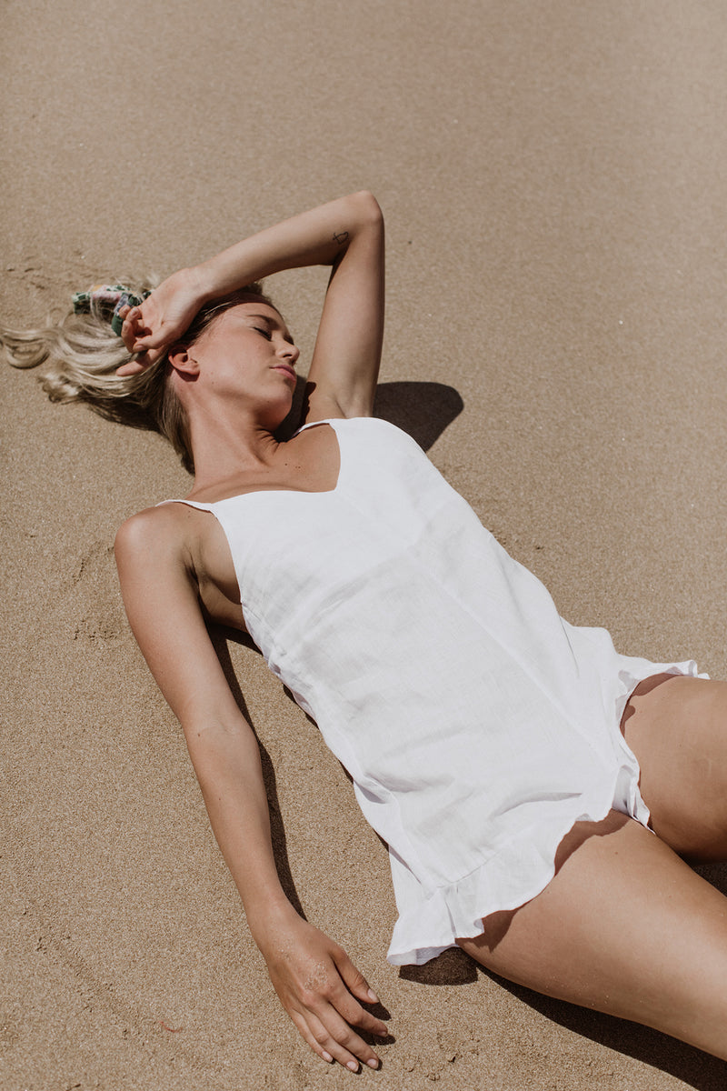 GOLDIE PLAYSUIT - WHITE LINEN