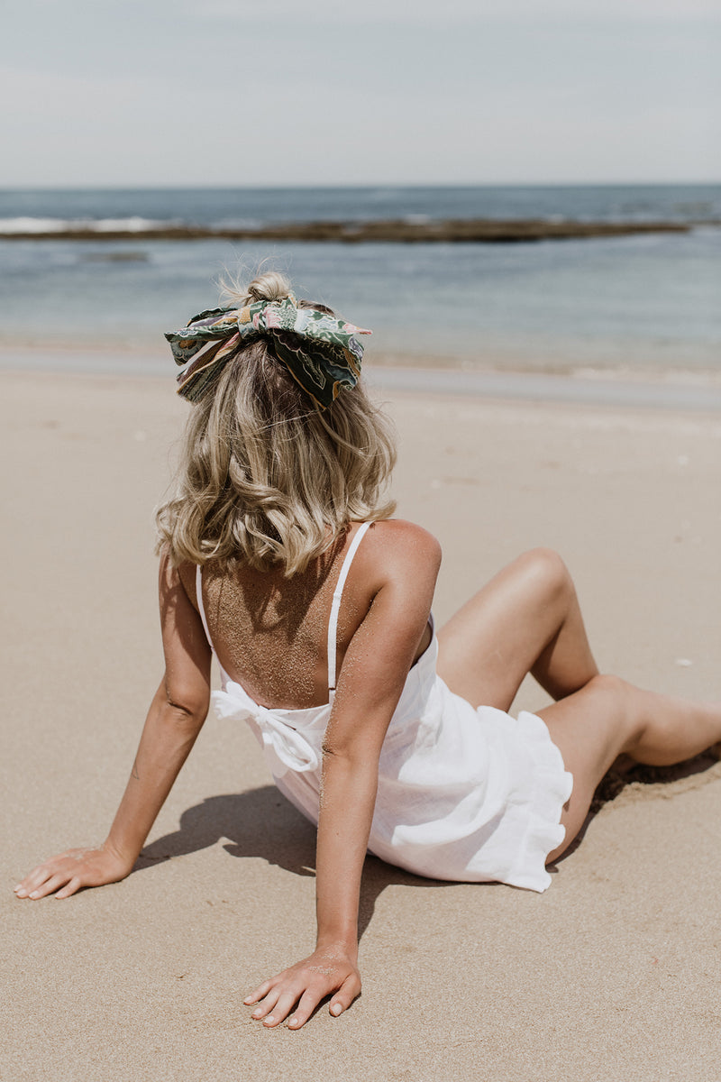 LINEN GOLDIE PLAYSUIT - WHITE