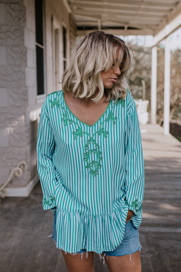 ROCCO RUFFLE TOP - GREEN