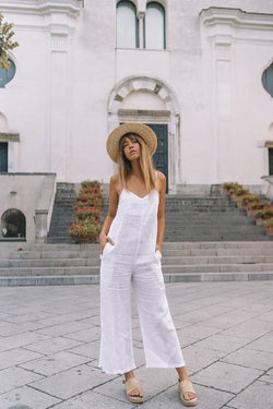 LINEN GOLDIE JUMPSUIT - WHITE