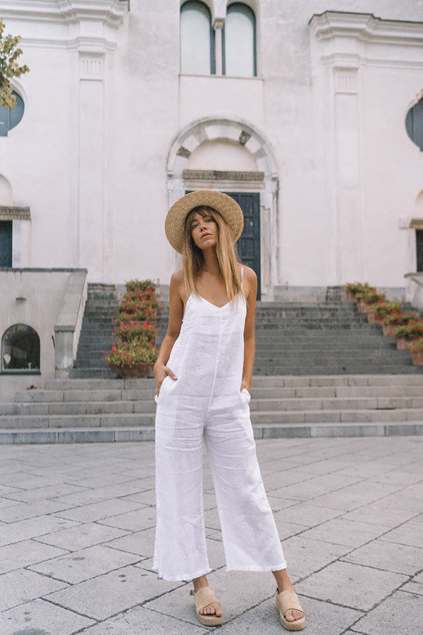 GOLDIE JUMPSUIT - WHITE LINEN