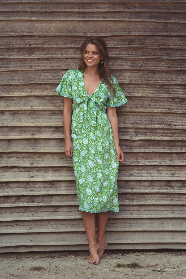 TIE MATILDA MIDI DRESS - GREEN