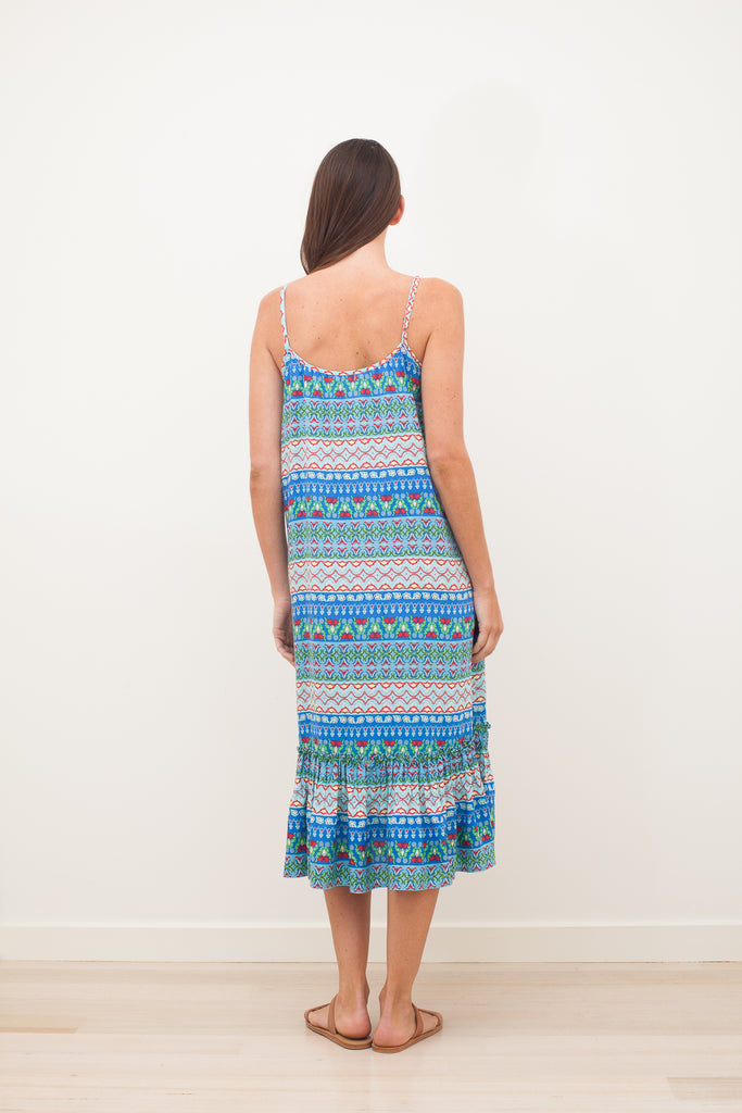 MIMI ROSE MIDI DRESS - Blue
