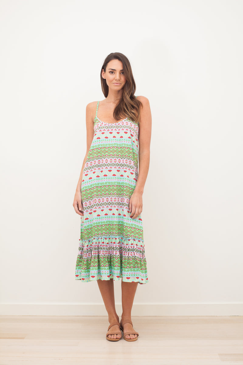 MIMI ROSE MIDI DRESS - Green