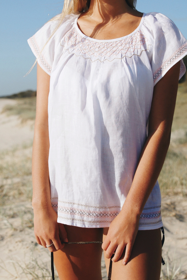 ISLA SMOCK TOP - WHITE LINEN