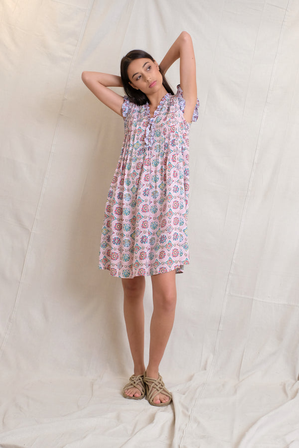 IVY PINTUCK DRESS - Peach