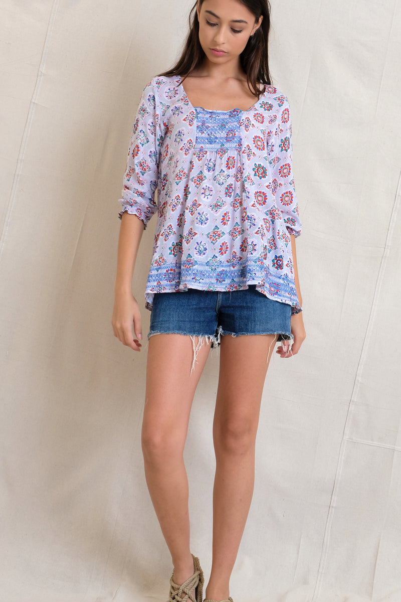 SMOCKED IVY TOP - Grey
