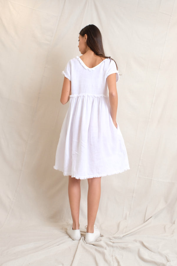 LINEN NALA MAE DRESS - White