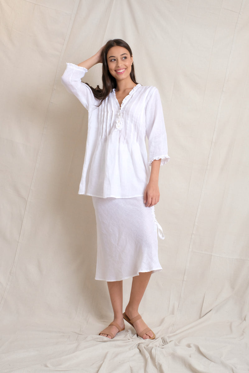 LINEN ANABELLA TOP - White