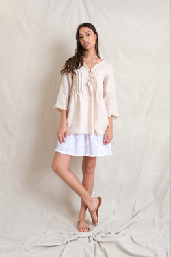 LINEN ANABELLA TOP - Sand