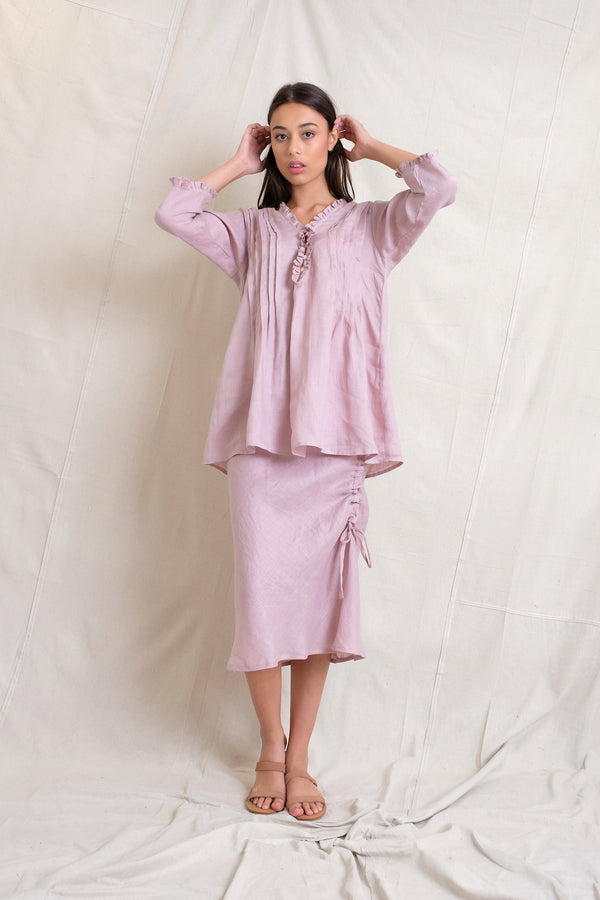 LINEN ANABELLA TOP - Stone